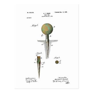 Patent Golf Ball on Tee Postcard