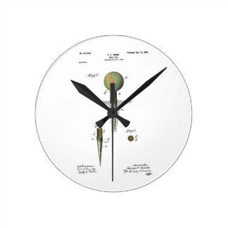 Patent Golf Ball on Tee Round Clock