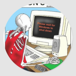 Patience W/ Computer Funny Gifts Tees Collectibles Round Sticker