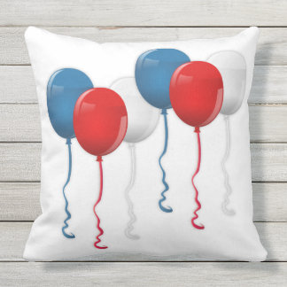 Patriotic, 4th of July, Red White & Blue Balloons Outdoor Cushion
