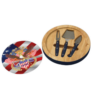 Patriotic America Read About Design Below Round Cheese Board