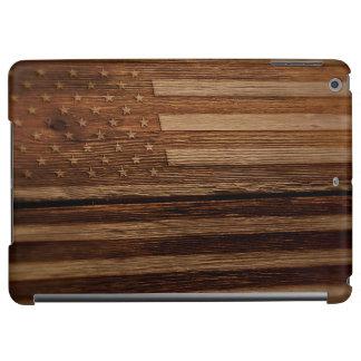 Patriotic American Flag Burned on Old Wood Grain 2