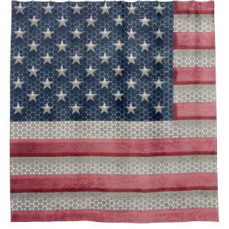 Patriotic American Flag Rustic Metal Look Shower Curtain