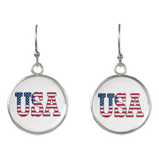 Patriotic American Flag USA Earrings