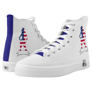 Patriotic American girl USA design High Tops