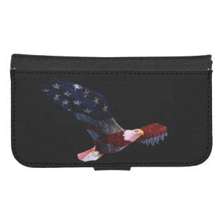 Patriotic Bald Eagle American Flag Samsung S4 Wallet Case
