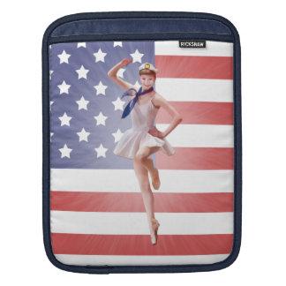 Patriotic Ballerina with American Flag iPad Sleeve
