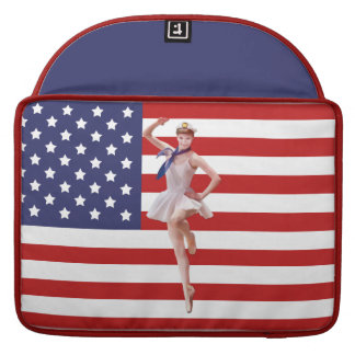 Patriotic Ballerina with American Flag Sleeve For MacBook Pro
