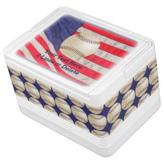 Patriotic Baseball Igloo Cooler, American Flag Chilly Bin