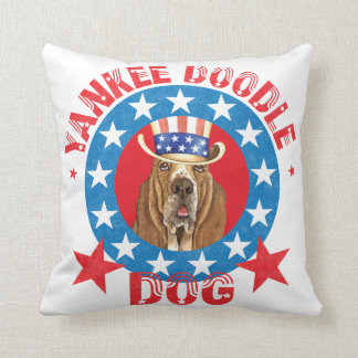Patriotic Basset Throw Pillow