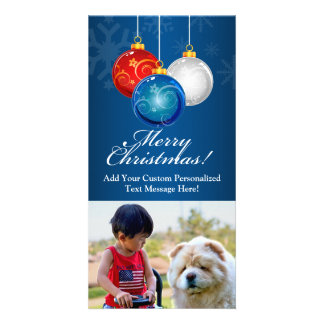 Patriotic Bauble Christmas Custom Photo Card