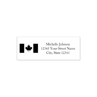 Patriotic Canadian flag custom return address Self-inking Stamp