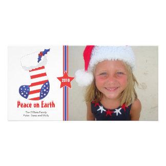 Patriotic Christmas Stocking Holiday Card Customized Photo Card