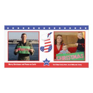 Patriotic Christmas Stocking Holiday Card Photo Greeting Card