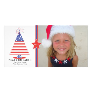 Patriotic Christmas Tree Holiday Card Customized Photo Card