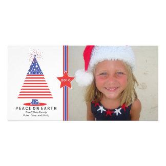 Patriotic Christmas Tree Holiday Card Customized Photo Card