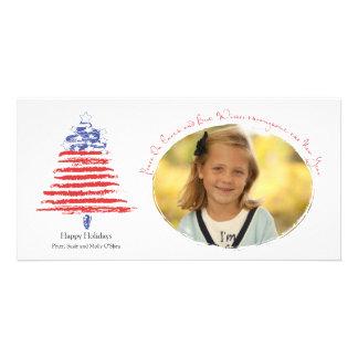 Patriotic Christmas Tree Holiday Card Photo Greeting Card
