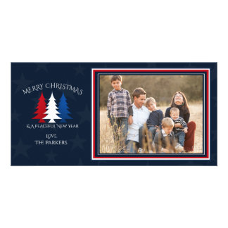 Patriotic Christmas Trees Navy Blue Photo Customized Photo Card
