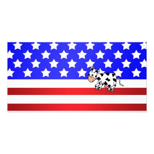 Patriotic cow custom photo card