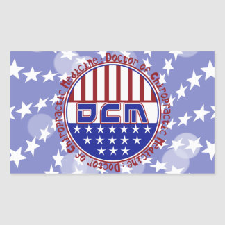 PATRIOTIC DCM DOCTOR OF CHIROPRACTIC MEDICINE RECTANGULAR STICKER