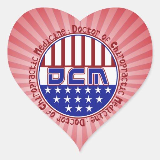 PATRIOTIC DCM DOCTOR OF CHIROPRACTIC MEDICINE HEART STICKER