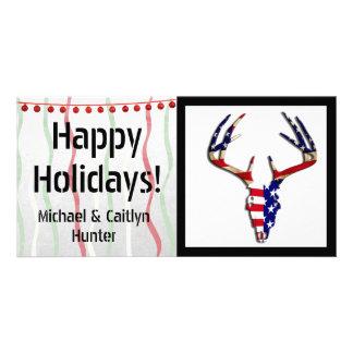 Patriotic Deer Hunting skull Photo Greeting Card