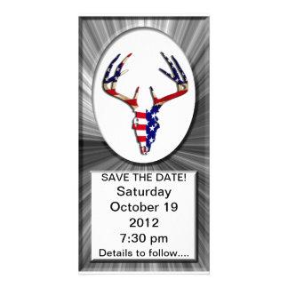 Patriotic Deer Hunting skull Customized Photo Card