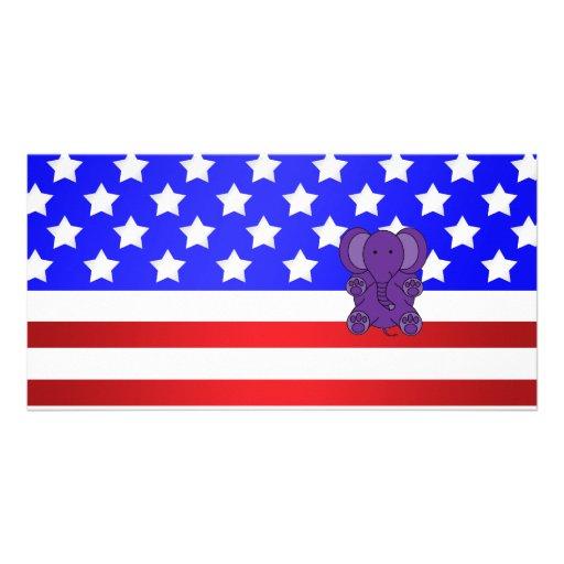 Patriotic elephant photo greeting card