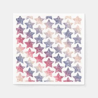 Patriotic Faux Glitter Stars Disposable Serviette