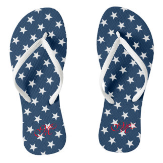 Patriotic fourth 4th of July party flip flops Thongs