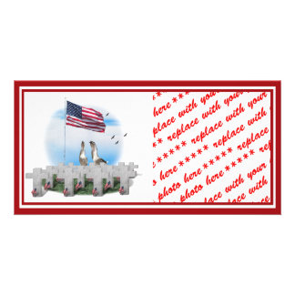 Patriotic Geese Saluting The American Flag Picture Card