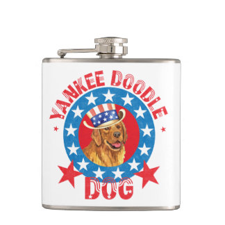 Patriotic Golden Retriever Flask