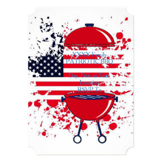 Patriotic Griller July 4th Party Invitation