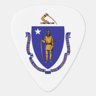 Patriotic guitar pick with Flag of Massachusetts
