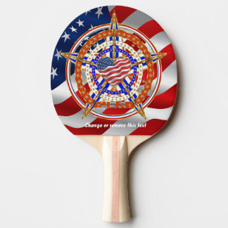 Patriotic Heart Matching Tailgate Table View Below Ping Pong Paddle
