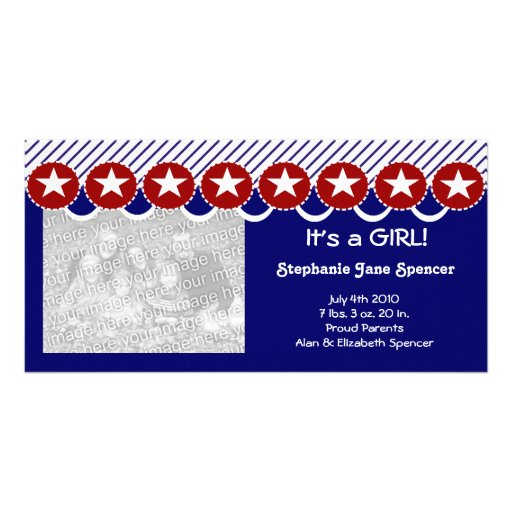 Patriotic It's a GIRL Photo Cards