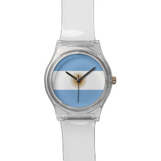 Patriotic kids watch with Flag of Argentina