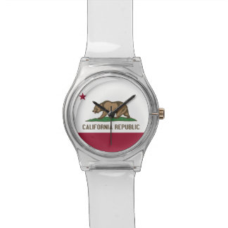 Patriotic kids watch with Flag of California