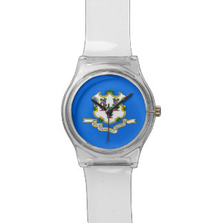 Patriotic kids watch with Flag of Connecticut