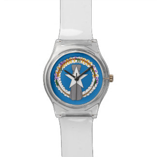 Patriotic kids watch with Flag of Northern Mariana