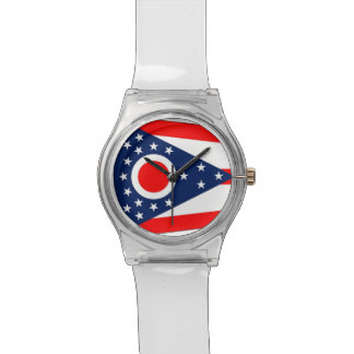 Patriotic kids watch with Flag of Ohio