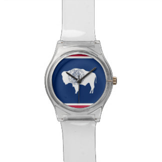 Patriotic kids watch with Flag of Wyoming