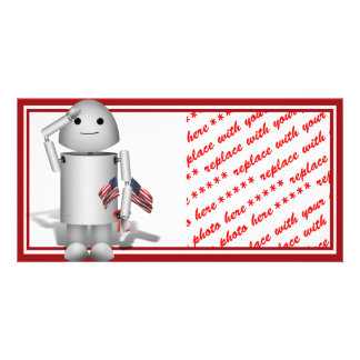 Patriotic Little Robo-x9 Personalized Photo Card