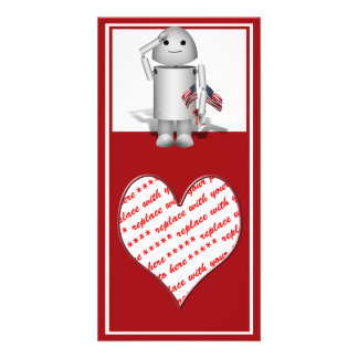 Patriotic Little Robo-x9 Custom Photo Card