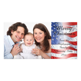 Patriotic Military Christmas American Flag Personalised Photo Card