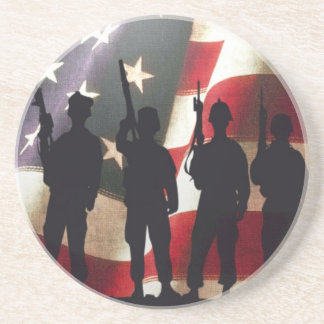 Patriotic Military Soldier Silhouettes on Flag Coaster