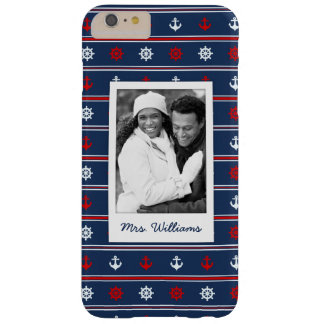 Patriotic Nautical Pattern | Your Photo & Name Barely There iPhone 6 Plus Case