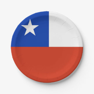 Patriotic paper plate with flag of Chile