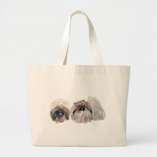 Patriotic Pekingese Large Tote Bag