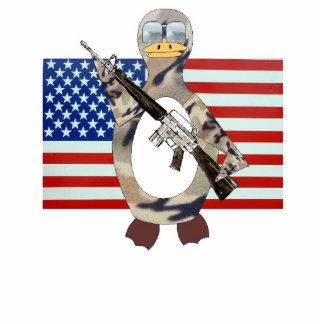 Patriotic Penguin Standing Photo Sculpture
